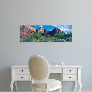 Easy Art Prints Panoramic Image 'Cottonwood trees and The Watchman, Zion National Park, Utah, USA' Premium Canvas Art