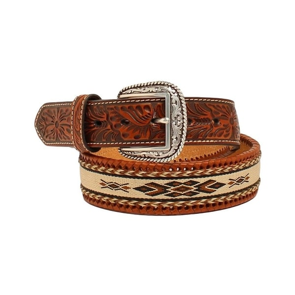 Ariat Western Belt Mens Ribbon Inlay Southwest Tooled Brown