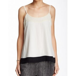 Joie NEW White Ivory Colorblocked XS Beaded Tank Cami Silk Top Blouse