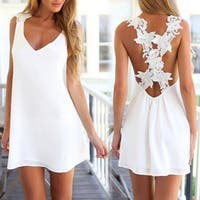 V Neck Casual Shift Dresses Sleeveless Beach Party Dress White