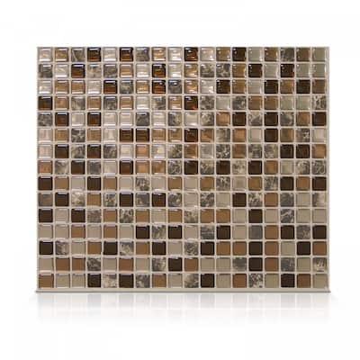 Smart Tiles Self Adhesive Wall Tiles- Minimo Roca - 4 Sheets of 11.55'' x 9.64'' Kitchen and Bathroom Stick on Tiles