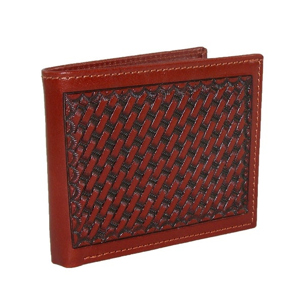 3 D Belt Company Men's Leather Basketweave Tooled Bifold Wallet - One size