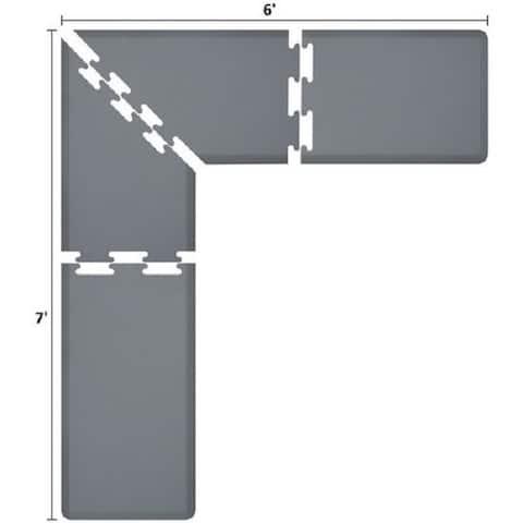 WellnessMats Puzzle Piece Collection 7 X 6 X 2 Feet, 4 Piece L Series Anti-Fatigue Office & Kitchen Mat Set, Grey