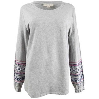 Link to Style & Co. Womens Embroidered Sweatshirt, grey, Medium Similar Items in Loungewear