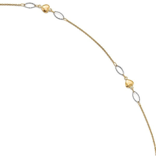 Italian 14k Two-Tone Gold Polished & Diamond Cut with 1in ext. Anklet - 10 inches