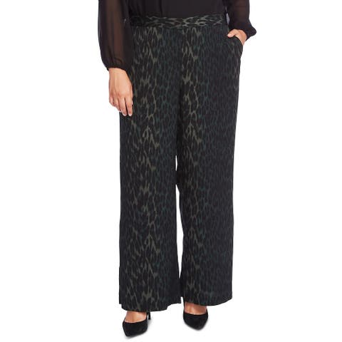 Vince Camuto Women's Animal Phrases Wide Leg Pants 288 Dk Willow Size 20