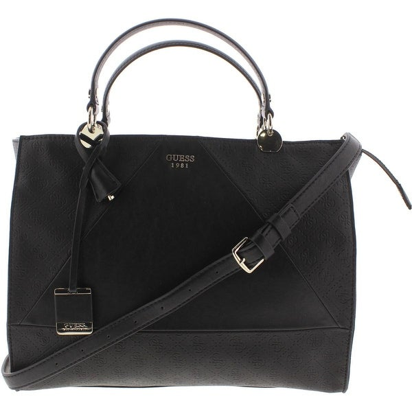 Shop Guess Womens Cammie Satchel Handbag Faux Leather Monogram ... f6538d80fdb81