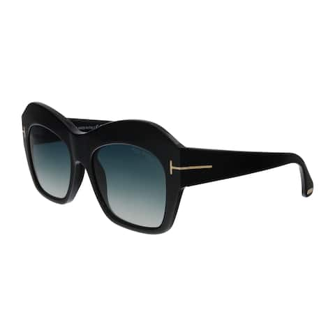 cb3104bfc5165 Tom Ford FT0534 01W Emmanuelle Black Square Sunglasses - No Size