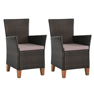 vidaXL Outdoor Chairs with Cushions 2 pcs Poly Rattan Brown