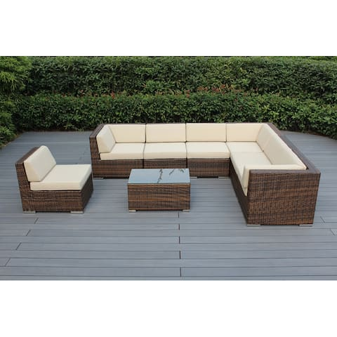 Ohana Outdoor Patio 8 Piece Mixed Brown Wicker Conversation Set with Cushions