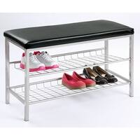 Etna 2-Tier Metal Shoe Bench - Vinyl Cushion Top Footwear Storage Rack for Entryway, Mudroom and Bedroom - Home Decor