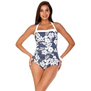 Shape Solutions Second Nature Halter One Piece Swimsuit - grey
