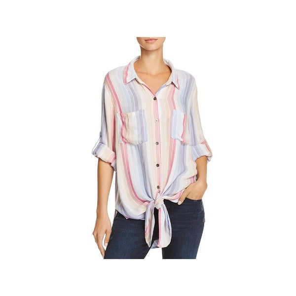 22427e2a9 Shop Vintage Havana Womens Button-Down Top Lace Up Back Striped - Free  Shipping On Orders Over $45 - Overstock - 25717281