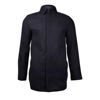 Perry Ellis Men's Wool-Blend Topcoat (Navy, S) - Navy - S