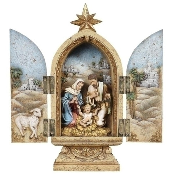 Pack of 2 Joseph's Studio Religious Holy Family Christmas Nativity Triptychs - brown