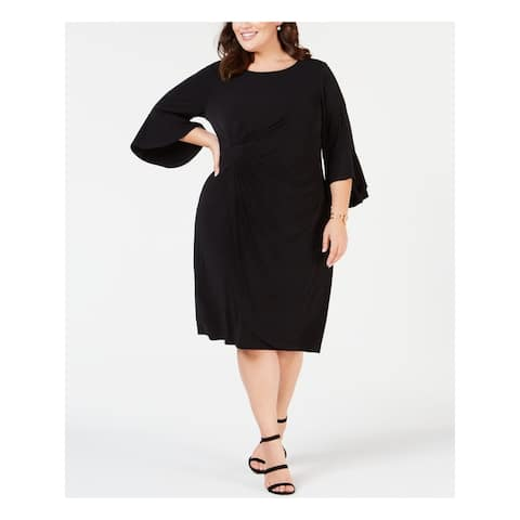 CONNECTED APPAREL Black Bell Sleeve Above The Knee Dress 20W