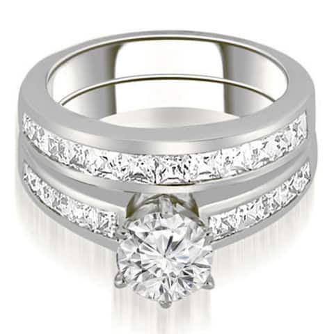 2.35 CT Channel Princess & Round Diamond Matching Bridal Set in 14kT - White H-I
