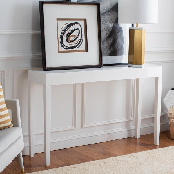 """SAFAVIEH Kayson White Lacquer Console Table - 51.2"""" W x 13.4"""" L x 31.5"""" H. Opens flyout."""