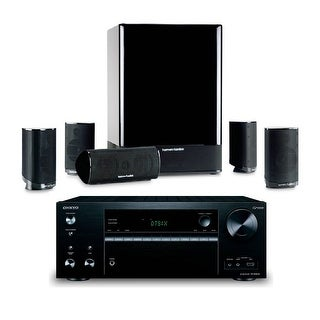 Harman Kardon HKTS 15 5.1-channel Home Theatre Speaker System with Onkyo TX-NR676 7.2 Channel AV Network Receiver
