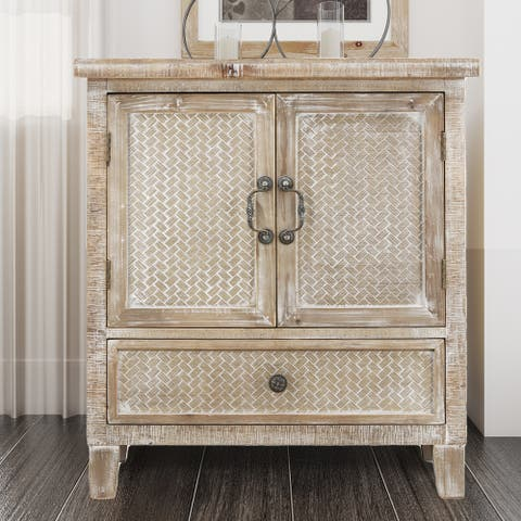 Weathered Wood Cabinet with 1 Drawer and 2 Doors