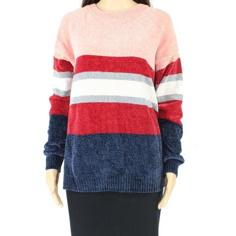 Promesa Womens Sweater Pink Red Blue Size Small S Crewneck Striped