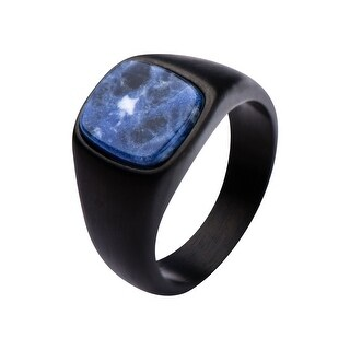 Inox Stainless Steel Matte Black IP Signet Ring with Polished Sodalite Ring.Available Sizes: 9 - 12