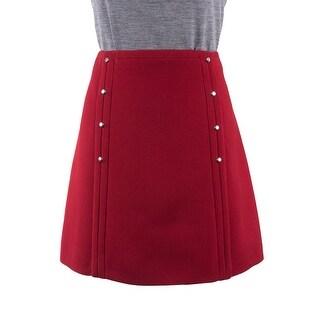 Prada Womens Red Wool Vertical Silver Button A-Line Mini Skirt