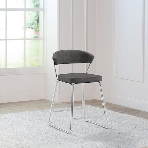 """Hillsdale Furniture Hanley Metal Counter Height Stool, Chrome with Black Faux Leather - 21.5""""W x 23""""D x 37""""H"""