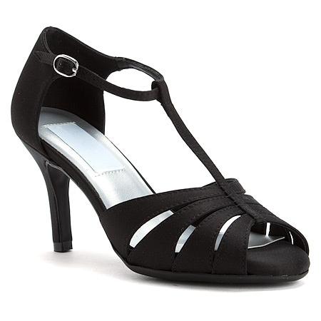 Satin Mid-Heel T-Strap Sandal