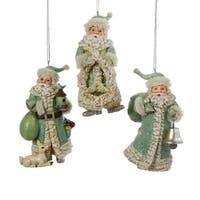 Club Pack of 12 Aqua Green and Cream Winter Whisper Santa Claus Christmas Ornaments 4.5""