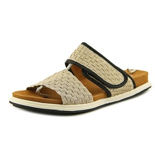 Bernie Mev. Apollo Women Open Toe Canvas Gold Slides Sandal