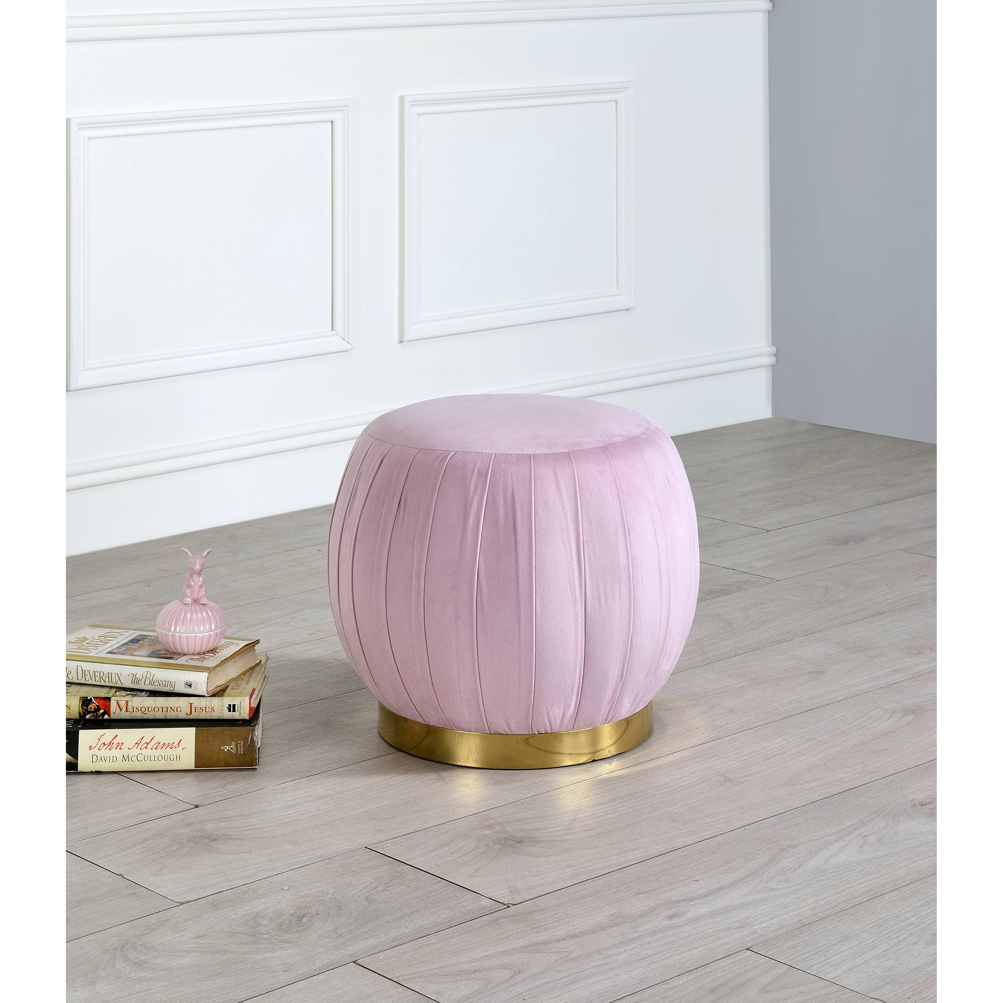 Acme Zinnia Ottoman In Pink Carnation Velvet Gold Overstock 31747306