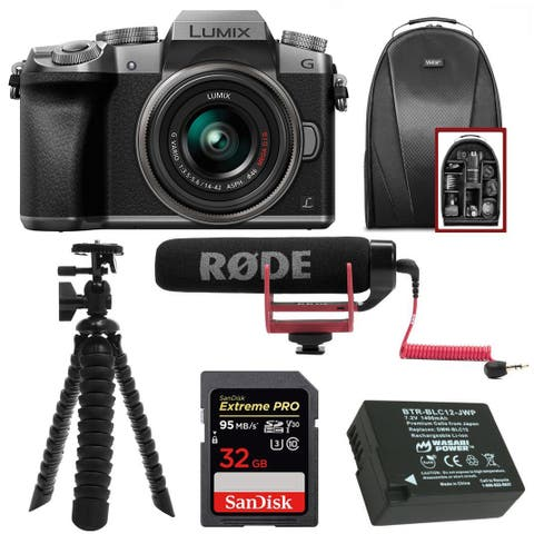 Panasonic LUMIX G7 Mirrorless Camera (Silver) w/ 14-42mm Lens & Rode Mic Bundle