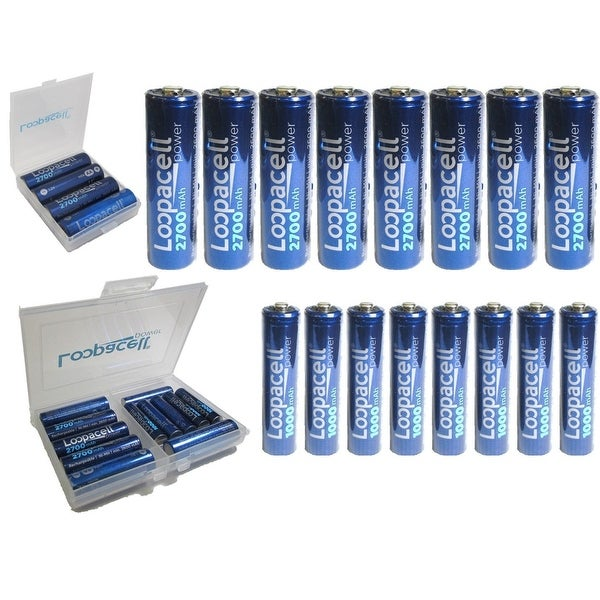 shop best aa loopacell rechargeable batteries 8 aa 2700mah and 8 aaa ni mh cell case free. Black Bedroom Furniture Sets. Home Design Ideas