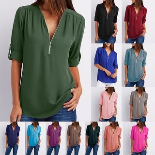 V Neckline Blouse - Zipper Front / Three Quarter Sleeve