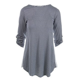 Splendid Womens Striped Long Sleeve Swim Top Cover-Up