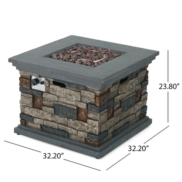 Chesney Outdoor Square Fire Pit by Christopher Knight Home