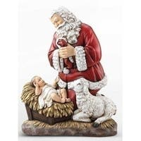 "24"" Joseph's Studio Kneeling Santa with Baby Jesus and Lamb Christmas Statue"