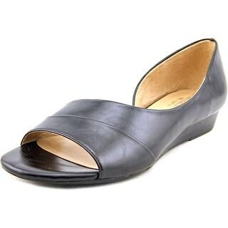 Naturalizer Jordan Women Open-Toe Leather Black Flats
