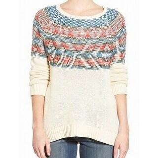 Hinge NEW White Ivory Women's Size Small S Tunic Fair Isle Knit Sweater