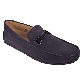 Tod's Solid Navy Suede Scooby Gomma Slip On Moccasins