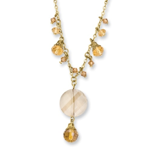Goldtone Yellow Crystal Drop Necklace - 16in