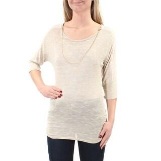 Womens Beige Dolman Sleeve Jewel Neck Casual Top Size XS