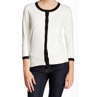 Grace NEW White Black Women's Size Large L Cardigan Button-Front Sweater