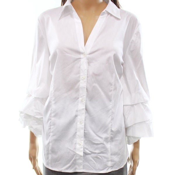 a8d6b6f0ddc6d Shop INC NEW White Women s Size Large L Tiered Bell-Sleeve Button Down Shirt  - Free Shipping On Orders Over  45 - Overstock.com - 21489845
