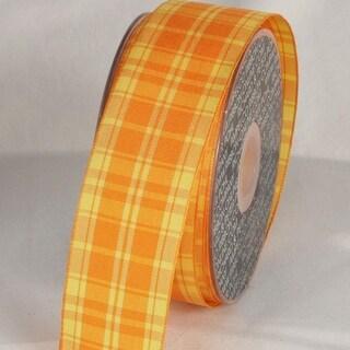"""Tangerine Orange and Sunflower Yellow Plaid Wired Craft Ribbon 1.5"""" x 27 Yards"""
