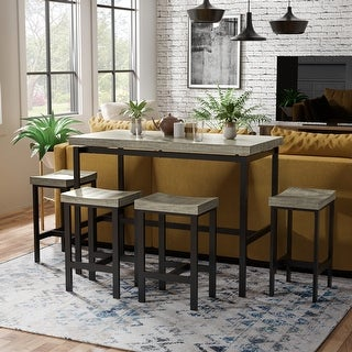 Furniture of America Feri Contemporary Brown Metal 5-piece Dining Set