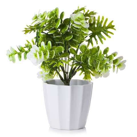 Enova Home Artificial Greenery in White Pot for Home Decoration