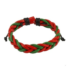 Red and Green Braided Leather Bracelet with Drawstrings (10 mm) - 7.5 in