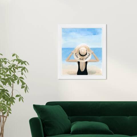 Wynwood Studio 'Relax Unwind' Fashion and Glam Blue Wall Art Framed Print